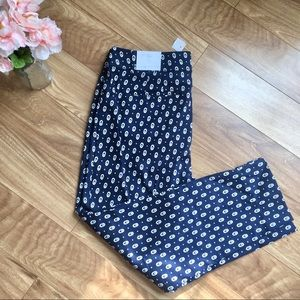 NWT Loft Cropped Julie Pant Navy And White Size 12